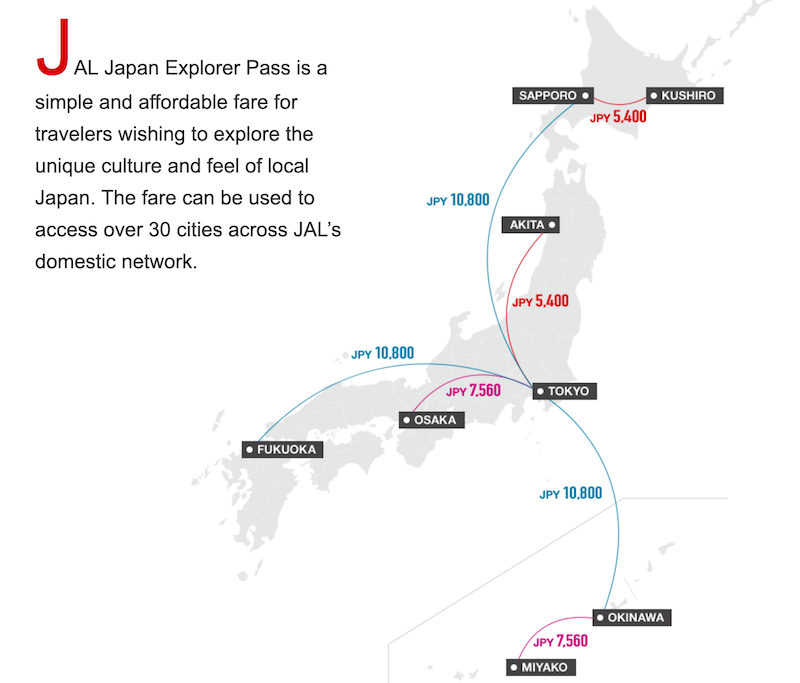 JAL Japan Explorer Passの運賃