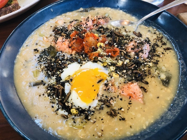 Miso congee with salmon $20